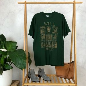 Vintage Will Power Shakespeare Green Graphic Tee